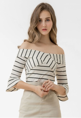 Eyescream white Striped Wide Neck Top 63A06AA026741BGS_1
