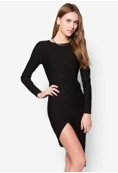 Long Sleeve Asymmetric Hem Bodycon Dress