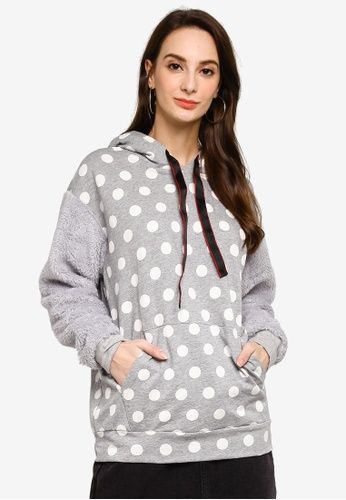 UniqTee grey Polka Dot Fluffy Sleeve Hoodies 974CCAAFF3A425GS_1