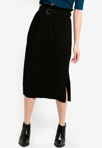ZALORA black Suede Pleated Midi Skirt 8314DAA4C85388GS_1
