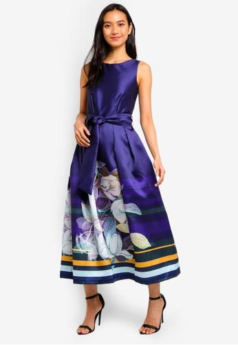 CLOSET navy Closet Gold V-Back Full Skirt Dress 2B090AAEDA2AB9GS_1