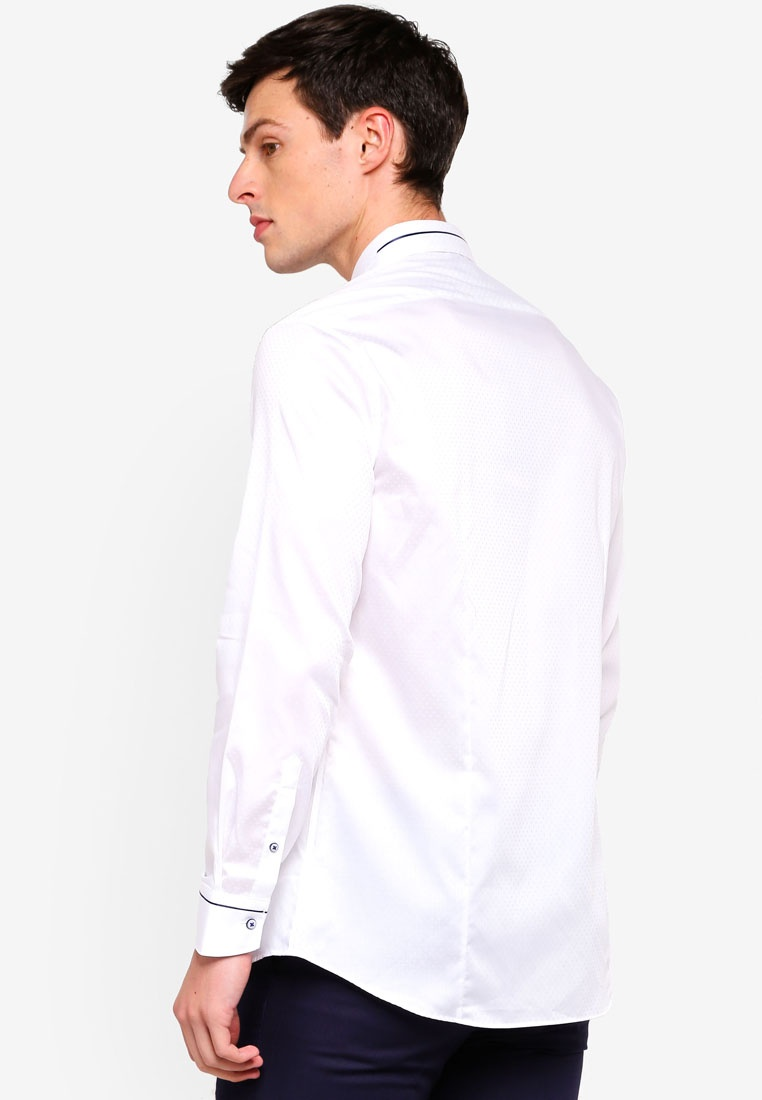 Sleeve White G2000 Cotton Long Textured Shirt pxzfBx
