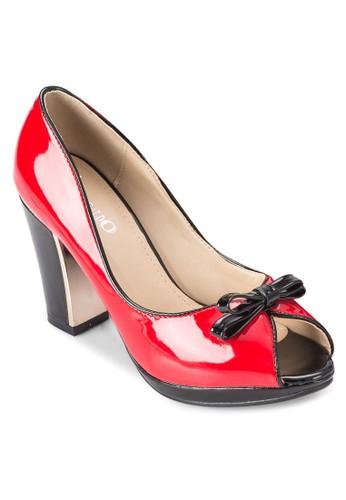 蝴蝶結滾邊粗跟鞋, esprit門市地址女鞋, 魚口鞋
