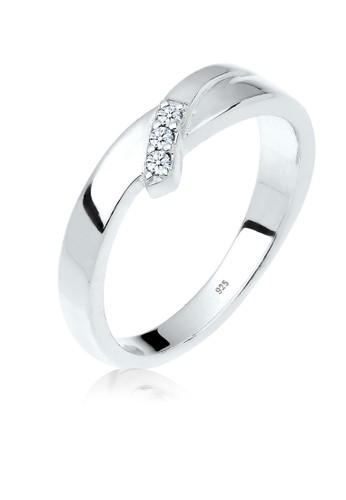 Elli Germany white Perhiasan Wanita Perak Asli - Silver Cincin Classic Diamond F625AAC0407DFEGS_1