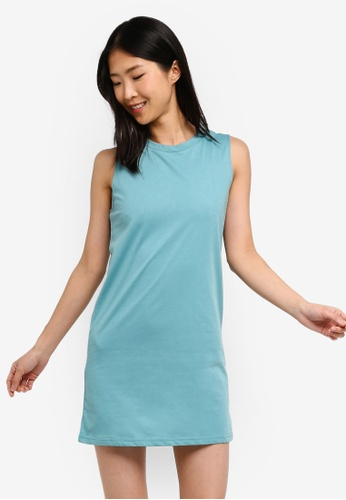 ZALORA BASICS blue Basic Shift Tank Dress 8AAEEAA1643E1CGS_1