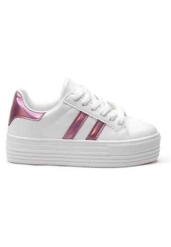 Crystal Korea Fashion 粉紅色 韓國製新款百搭厚底休閒鞋 2A773SH9DB9818GS_1