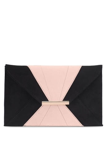 Dorothy Perkins black and pink Black And Blush Envelope Clutch Bag 099C3AC0704D41GS_1