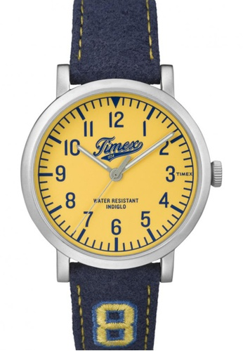 TIMEX blue Timex Originals University with Silver-Tone Case and Leather Strap TI857AC51NRSSG_1
