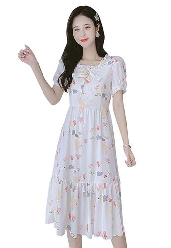 Halo multi Printed Chiffon Dress 3A260AAB83DF99GS_1