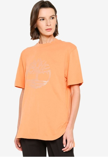 Timberland orange Reflective Logo Oversize Tee 62901AA7FF4701GS_1