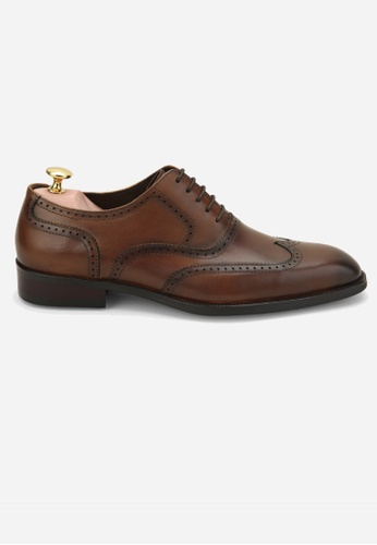 Earnest & Collective brown Warwick II Burnished Tan Brogue Oxfords 51C6ASH8006906GS_1