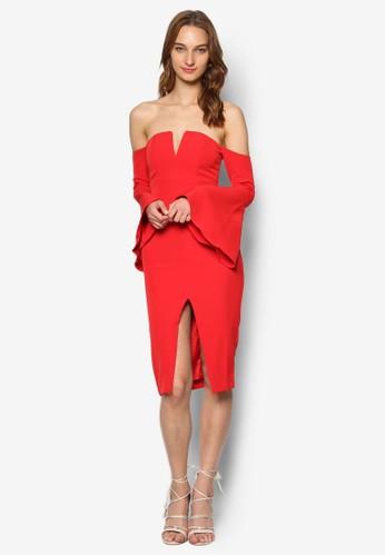 Jasmine 前開叉露esprit tote bag肩傘擺長袖連身裙, 服飾, 服飾