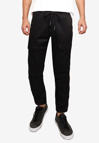 !Solid black Jim Cargo Cuff Pants F462DAADEC56B4GS_1