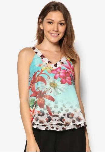 Molokai 花卉層zalora 衣服尺寸疊無袖上衣, 服飾, 坦克背心& 細肩帶背心