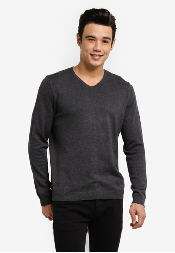 Burton Menswear London grey Grey V-Neck Jumper BU964AA28JTVMY_1