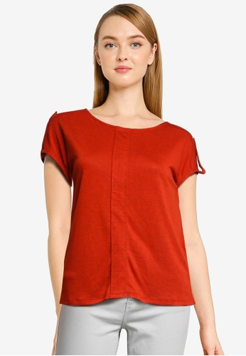 Springfield red Linen Effect Pleated T-Shirt DDD54AADA2D521GS_1