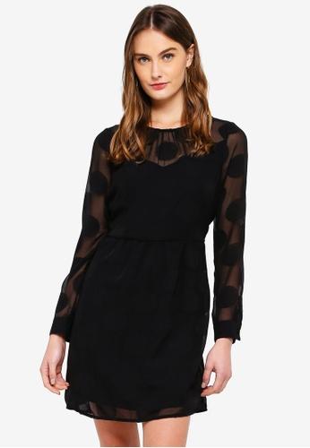 Vero Moda black Syra Dot L/S Short Dress 577B2AA51F8C81GS_1