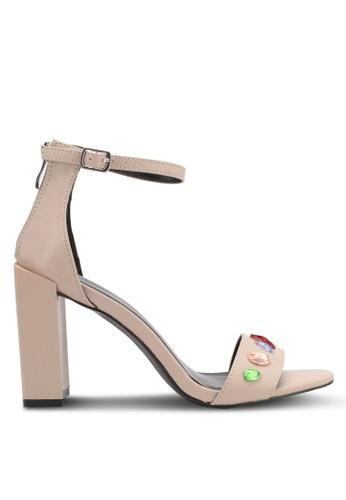 Something Borrowed 米褐色 新年系列 繞踝粗跟水晶涼鞋 E2C98SHC317063GS_1