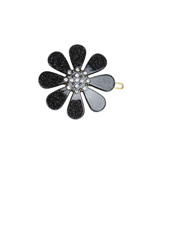 Glamorousky white Fashion Simple Black Flower Hair Clip with Cubic Zirconia BFC91ACF960030GS_1