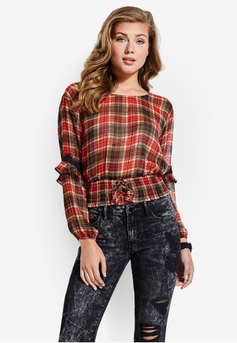 Guess red and multi Madrid Tartan Lace-Up Top F7878AA6FDFF4AGS_1