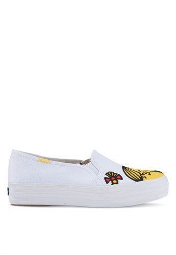 Keds white and yellow Triple Decker Little Miss Sunshine Slip Ons KE942SH0STFAMY_1