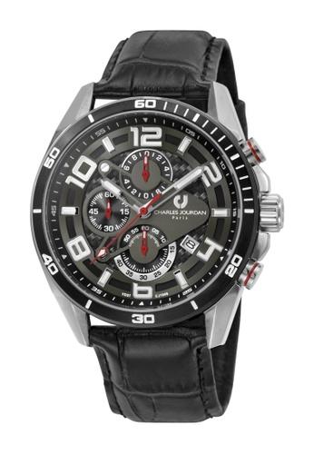 Charles Jourdan black Charles Jourdan Men CJ1046-1335C Black Genuine Leather Watch 4751EAC57D3FD3GS_1