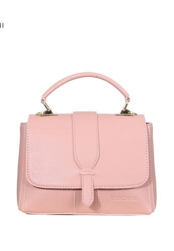 Verchini pink Verchini Metallic Push-Lock Top Handle Bag 6C5DDAC9D2AAF7GS_1