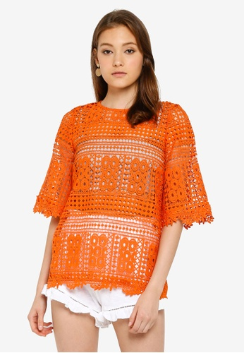 680ac83d2a3 Buy Miss Selfridge Orange Crochet Tunic Top Online on ZALORA Singapore