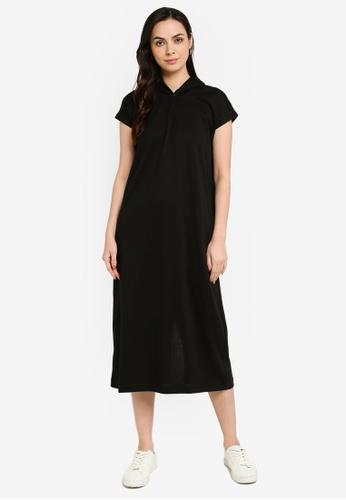 GLOBAL WORK black Short Sleeve Hooded Dress E43B7AA8BA6C59GS_1