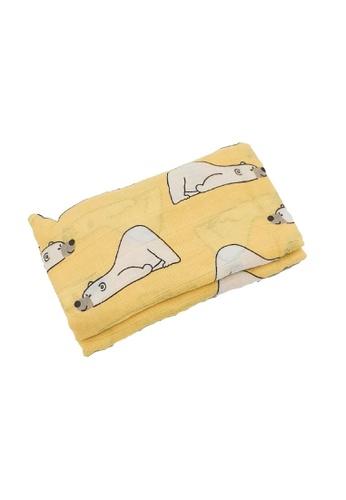 Akarana Baby white and yellow Newborn Baby Bamboo Muslin Swaddle Soft Blanket Bear 43BB7KC4E81519GS_1