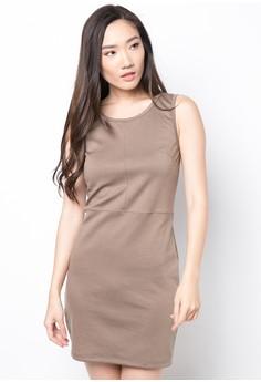 Brown Bodyfit Sleeveless Dress