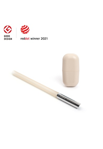 Viida beige [VIIDA] Morgen UiU Collapsible and Reusable Straw, BEIGE (M Series) 1.2cm, Premium 316 Stainless Steel & Silicone body - 6 Colors Available DC4FEHL0303584GS_1