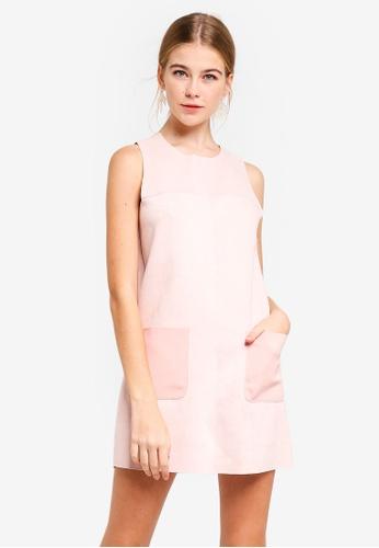 14564daf796 Dressing Paula pink Panelled Suede Shift Dress A1A2BAAF2BAD00GS 1