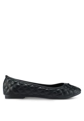Bata 黑色 菱格紋蝴蝶結平底鞋 3EF1ASHAD3D44EGS_1