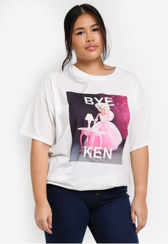 MISSGUIDED white Plus Size Printed Bye Ken Tshirt FBFF5AA59CA467GS_1