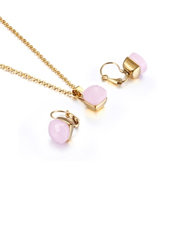 Glamorousky pink Fashion and Simple Plated Gold Geometric Square 316L Stainless Steel Necklace and Earrings Set with Pink Cubic Zirconia F6784AC40CCCF2GS_1
