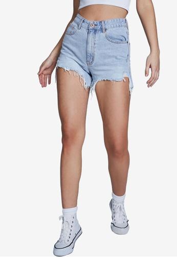 Cotton On blue High Ripped Mom Denim Shorts 3B9C0AA0DB64F7GS_1