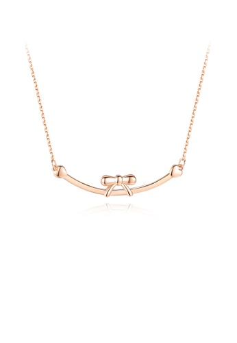 Glamorousky silver 925 Sterling Silver Plated Rose Gold Simple and Elegant Ribbon Geometric Necklace BC808AC7F63970GS_1
