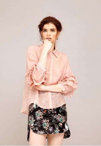 人造絲esprit outlet台北荷葉袖罩衫, 服飾, 上衣