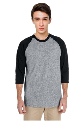Crazeecausa Crazeecausa Heavy Cotton ¾-Sleeve Raglan-Grey/Black 44AEDAA7A8CC3CGS_1