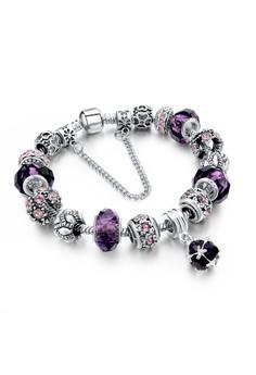 Dark Amethyste Floral Charm Bracelet by ZUMQA