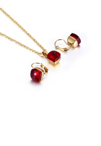 Glamorousky red Fashion and Simple Plated Gold Geometric Square 316L Stainless Steel Necklace and Earrings Set with Red Cubic Zirconia 5E99DAC20E9A82GS_1