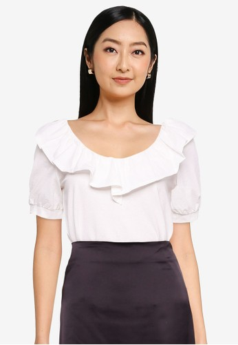 ONLY white Dinna Life V-neck Frill Top 42341AAFD9A3DEGS_1