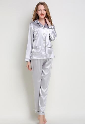 SMROCCO grey Silk Like Long Sleeve Long Pants Pyjamas Set L8009 (Grey) 28844AA63A8C9EGS_1