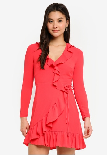 Forever New red Bamby Wrap Frill Dress 873EEAAA19E0F9GS_1