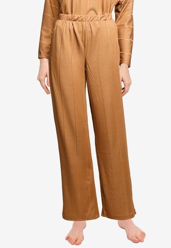 JACQUELINE DE YONG brown Bina Wide Lounge Pants F46B2AA730C8A4GS_1