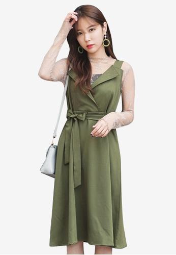 Sesura green Modern Femme Surplice Dress 945A3AAA44BB75GS_1