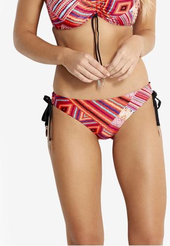 Seafolly red Desert Tribe Loop Tie Side Hipster Bikini Bottom 24169US0073EBFGS_1