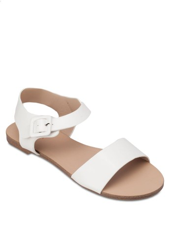 簡約寬帶繞zalora 泳衣踝平底涼鞋, 女鞋, 涼鞋