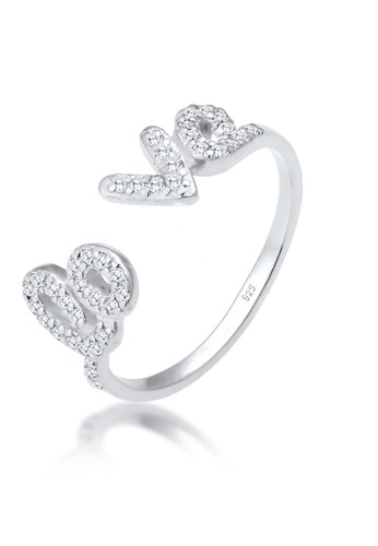Elli Germany white Perhiasan Wanita Perak Asli - Silver Cincin LO-VE Zirconia ECB20AC2D1D563GS_1